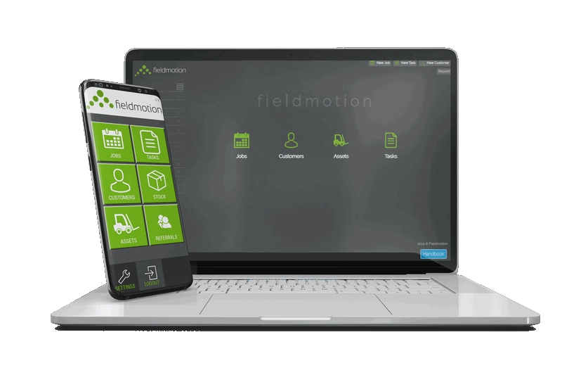 Fieldmotion software on laptop and mobile